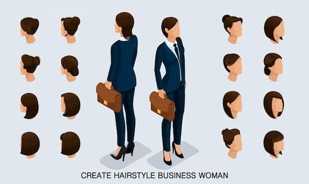 Isometrische geschäftsfrau stellte 2 3d, die frisuren der frauen ein, um eine stilvolle geschäftsfrau, hintere ansicht der modernen frisur herzustellen