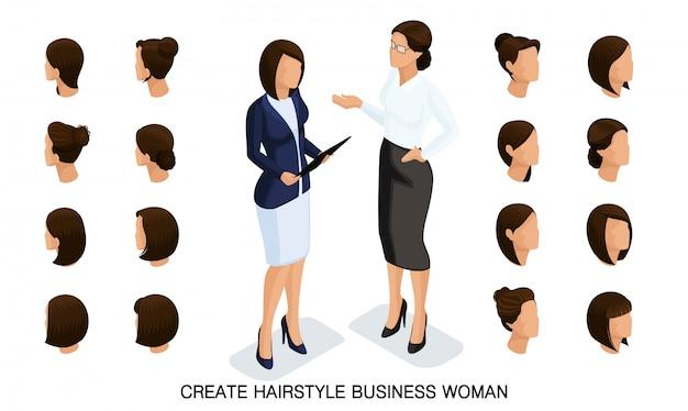 Isometrische geschäftsfrau stellte 5 3d, frisuren der frauen ein, um eine stilvolle geschäftsfrau, hintere ansicht der modernen frisur herzustellen