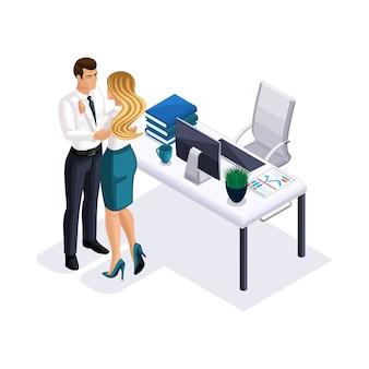 Isometrische geschäftsfrau und geschäftsmann, die im büro, büroromantik, personal, direktor und sekretärin, liebe, schönes mädchen mit langen haaren umarmen