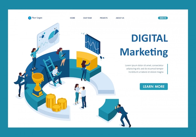 Isometrische geschäftsleute berichten über digitales marketing