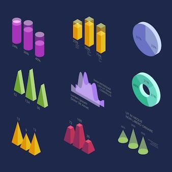 Isometrische geschäftsstatistik-datendiagramme 3d, prozentsatzdiagramme für moderne darstellung. vektor infographik elemente isoliert