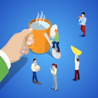 Isometrische geschäftsteamarbeit. hand mit tasse tee und menschen. flache illustration des vektors 3d