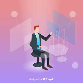 Isometrische geschäftstechnologie mit dem mann, der auf stuhl sitzt