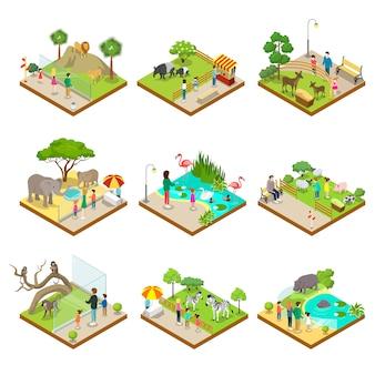 Isometrische gesetzte illustrationen 3d des allgemeinen zoos