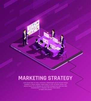 Isometrische glühzusammensetzung des marketingkonzepts mit geschäftsmanncharakteren, die präsentation im besprechungsraum mit bearbeitbarer textvektorillustration haben