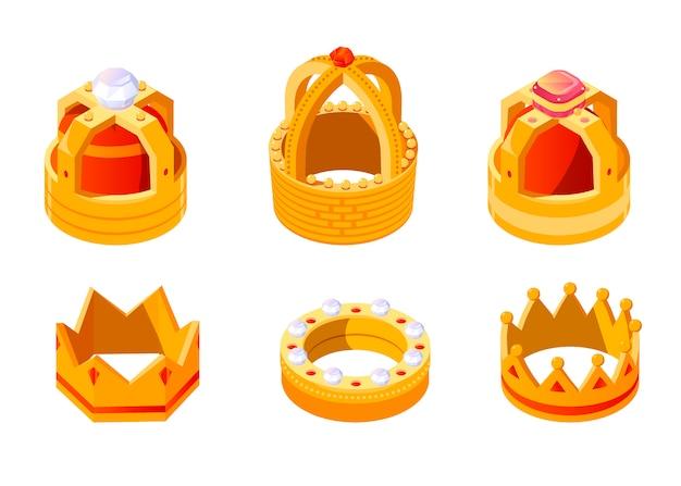 Isometrische goldene königs- oder königinkrone eingestellt mit edelsteinen