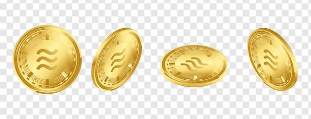 Isometrische goldene münzen der digitalen kryptowährung 3d der waage eingestellt