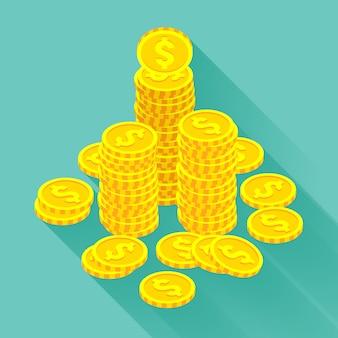 Isometrische goldene münzen