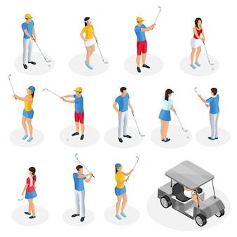 Isometrische golfspielersammlung mit wagen und golfern, die keulen in verschiedenen posen isoliert halten