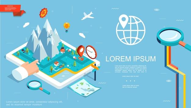 Isometrische gps-navigationsschablone mit bergroutenkartenzeiger auf tablettbildschirm, der handlupenkugelillustration zeigt