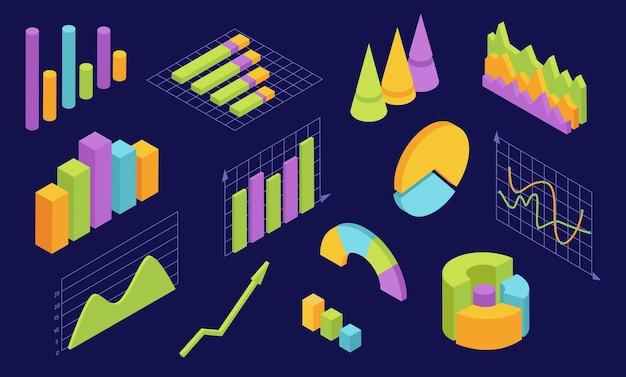 Isometrische grafiken. statistikdiagramme für unternehmen. 3d-infografik-diagramm und grafische welle. wirtschaftsanalyse web-interface-elemente-vektor-set. 3d-geschäftsanalyse, statistische infografik-visualisierung
