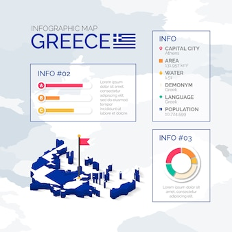 Isometrische griechenlandkarte infografik