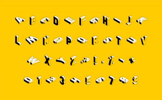 Isometrische großbuchstaben, zahlen und zeichen auf gelbem hintergrund. trendiges vintage alphabet