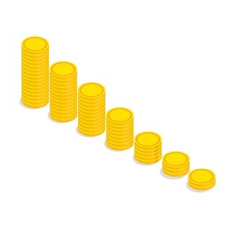 Isometrische große gestapelte goldmünzen. spiel-dollar-symbole.