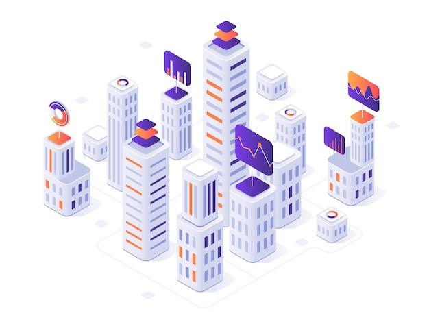 Isometrische großstadt infographik. stadtgebäude, futuristische städtische und stadtgeschäftslokal-bezirksmetriken 3d illustration