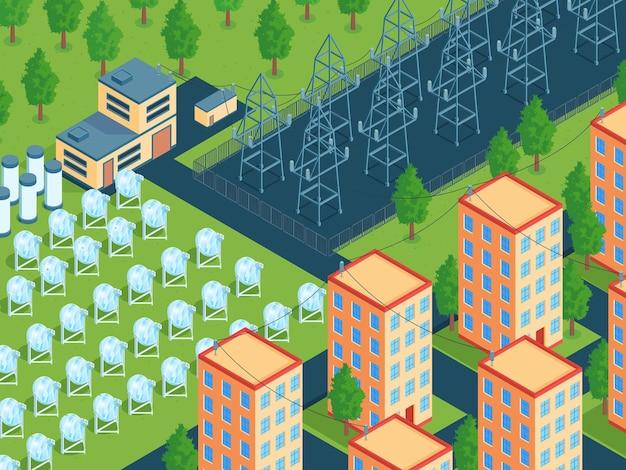 Isometrische grüne energieillustration mit stadtblock und feld von solaranlagen mit stromleitungen