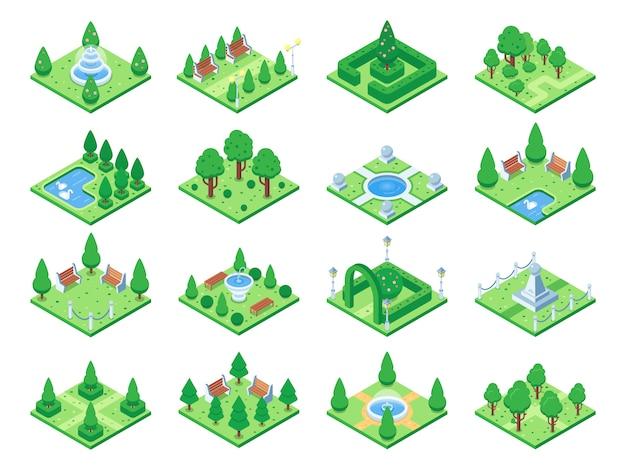 Isometrische grüne park- oder gartenbäume.