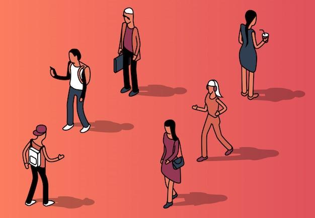 Isometrische gruppe von gesichtslosen menschen in freizeitkleidung