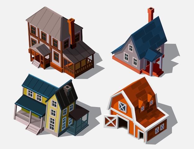 Isometrische häuser im europäischen stil, illustration. sammlungshäuser lokalisiert auf weiß für gebäude und computerspieldesign. architektonisches äußeres für cartoon 3d stadt, spielgrafiken.