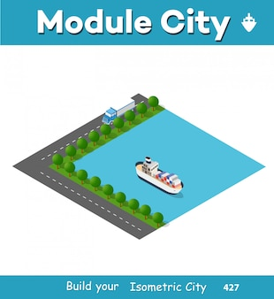Isometrische hafenfrachtschiff