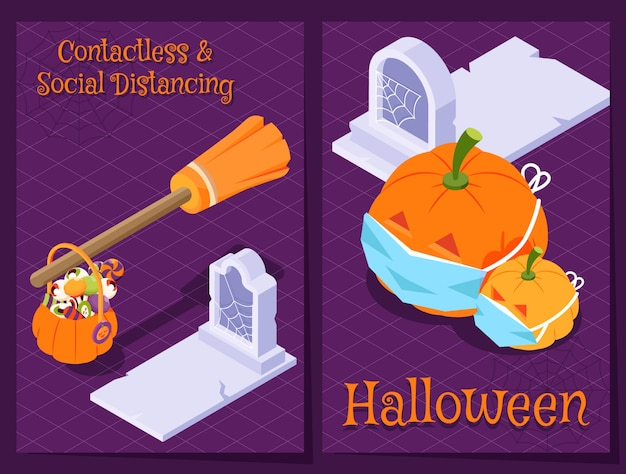 Isometrische halloween-pandemie-illustration