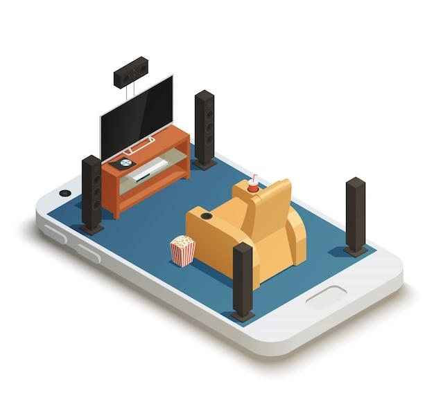 Isometrische heimkino-kompostierung mobil