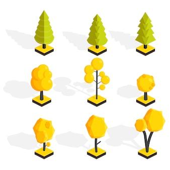 Isometrische herbstbäume eingestellt