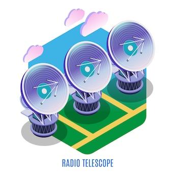Isometrische hintergrundzusammensetzung der astrophysik mit astronomischer interferometerreihe verschiedenen radioteleskopantennen, die illustration zusammenarbeiten
