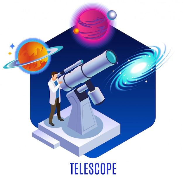 Isometrische hintergrundzusammensetzung der astrophysik mit dem astronomen, der bunte planetengalaxie-himmelskörper mit illustration des optischen teleskops beobachtet