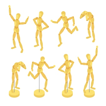Isometrische hölzerne mannequins
