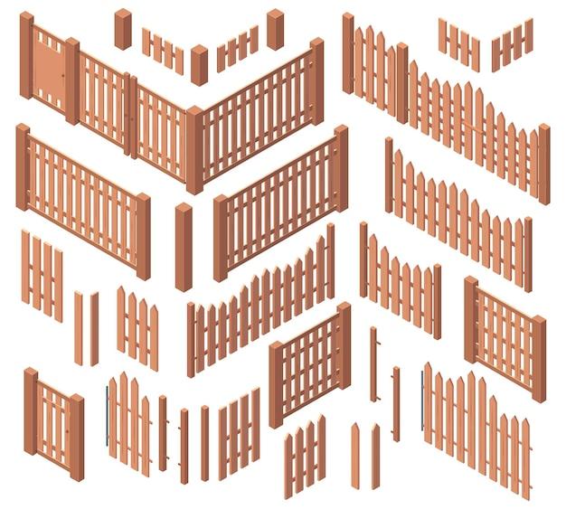 Isometrische holzgartenbauernhof raue zäune. hof holzbretter tore, hölzerne 3d-palisade-zäune vektor-illustration-set. bauernhof holzzaun