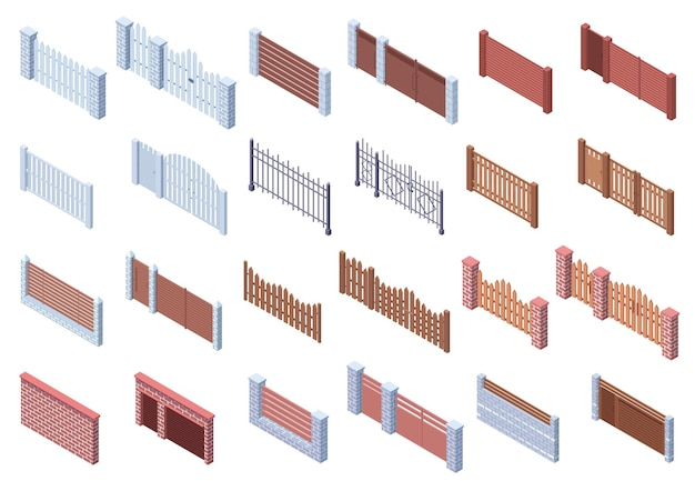 Isometrische holzstein-metallarchitektur-torzäune. immobilien, hofgitter, ziegel- und holzzäune, torvektorillustrationssatz. automatische torzäune