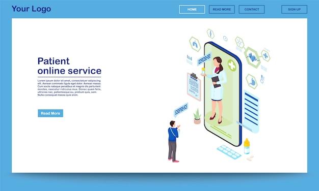 Isometrische homepage-vorlage für den patientenservice-onlinedienst. verschreibungspflichtiger medizinischer fernberater. traumatologe berät klienten über das internet. promo-webseite für mobile apps der telemedizin-technologie