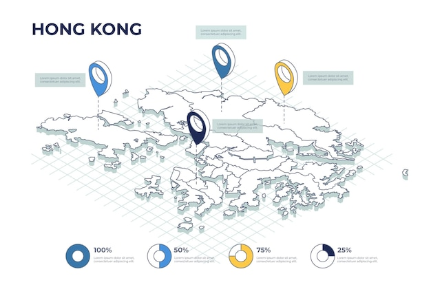 Isometrische hong kong karte infografiken