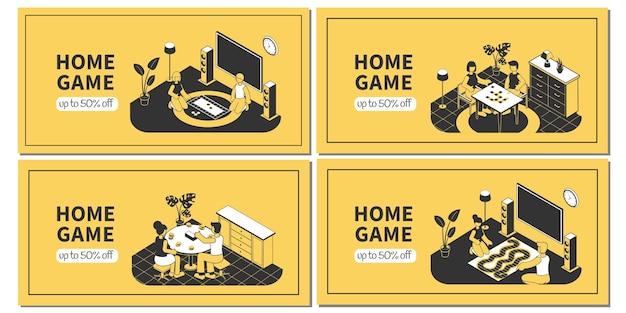 Isometrische horizontale banner eingestellt mit familie, die brettspiele zu hause 3d lokalisiert spielt