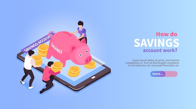 Isometrische horizontale bannerkomposition für online-banking mit bildern von schweinförmigen stillbank- und smartphone-illustrationen