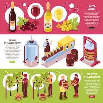 Isometrische horizontale fahnen der weinkellerei rot- und weißweinproduktion des getränks und der traubenplantage
