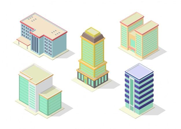 Isometrische hotel-, büro-, wohnung- oder wolkenkratzergebäude eingestellt