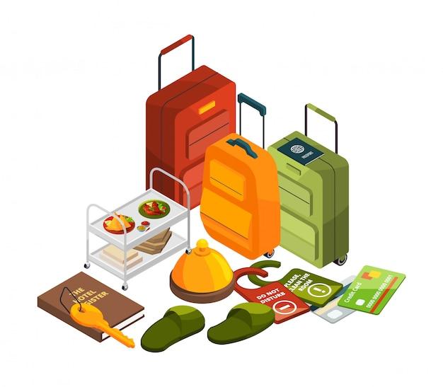 Isometrische hotelelemente. all-inclusive-konzept. illustration der reise- und tourismusbranche