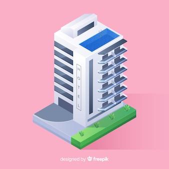 Isometrische hotelgebäude