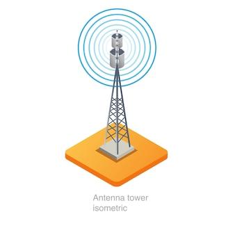 Isometrische ikone 3d des antennenmastes