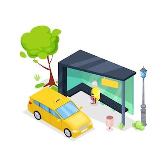Isometrische ikone 3d des im stadtzentrum gelegenen taxistands