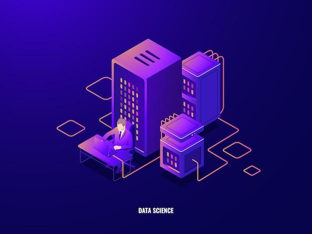 Isometrische ikone der datenrecherche, informationsanalyse und verarbeitung großer daten, künstliche intelligenz