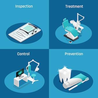 Isometrische ikone der farbigen stomatologiezahnheilkunde, die mit inspektionsbehandlungskontroll- und -verhinderungsbeschreibungen eingestellt wird, vector illustration