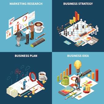 Isometrische ikone der geschäftsstrategie stellte mit marketing-forschungsgeschäftsstrategieplan- und -ideenbeschreibungsillustration ein