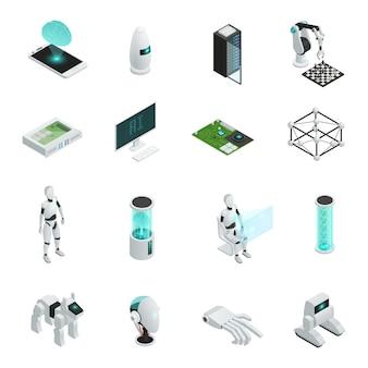 Isometrische ikone der künstlichen intelligenz eingestellt mit elektronik und neuen technologien im menschlichen leben