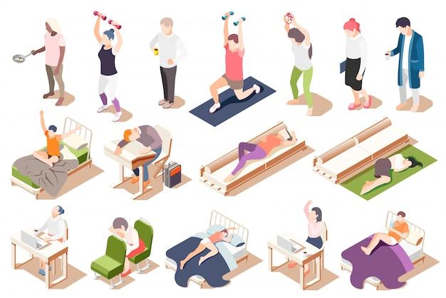 Isometrische ikone der menschlichen circadianen rhythmen stellte mit ermüdungsmangel der schlafmüdigkeitsillustration ein