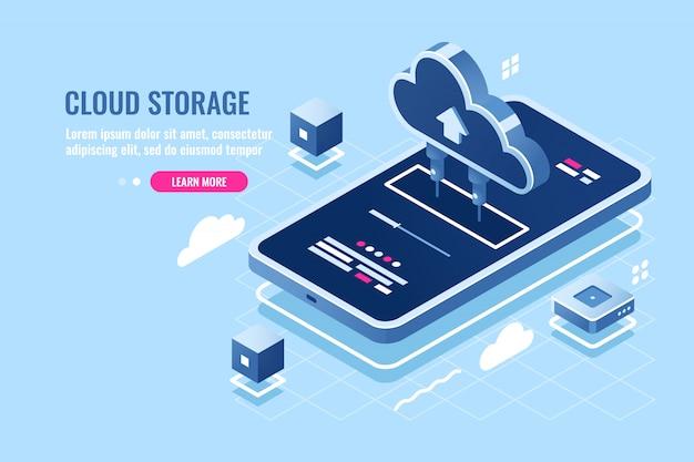 Isometrische ikone der mobilen anwendung, downloaddatei auf dem smartphone vom cloud-server-speicher