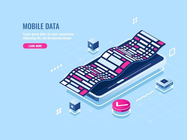 Isometrische ikone der programmierung der mobilen software, entwicklungsanwendung des mobiltelefons