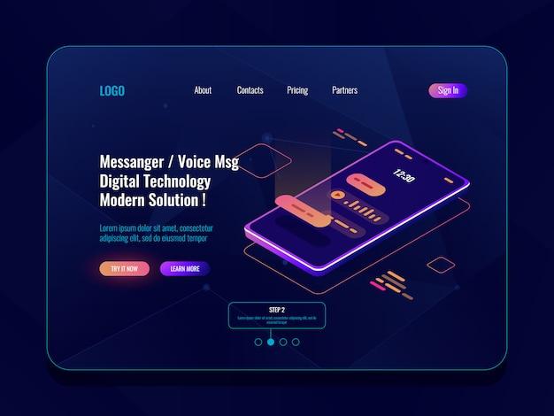 Isometrische ikone des beweglichen anwendungskurierkonzeptes, handy mit sms dialog auf schirm, chatbot